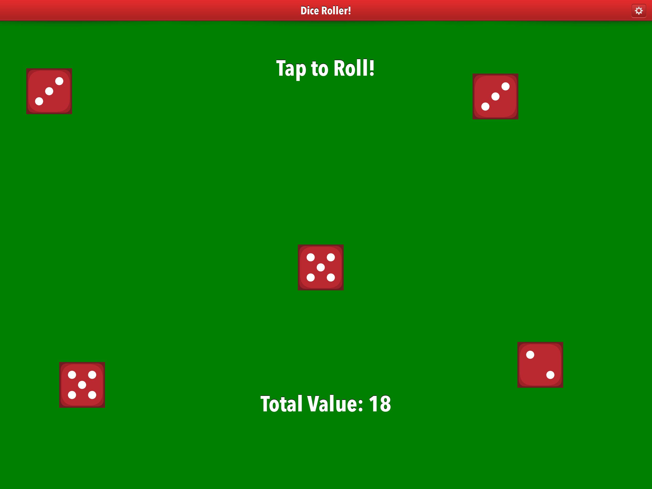Dice Roller app iPad pro screenshot five dice.