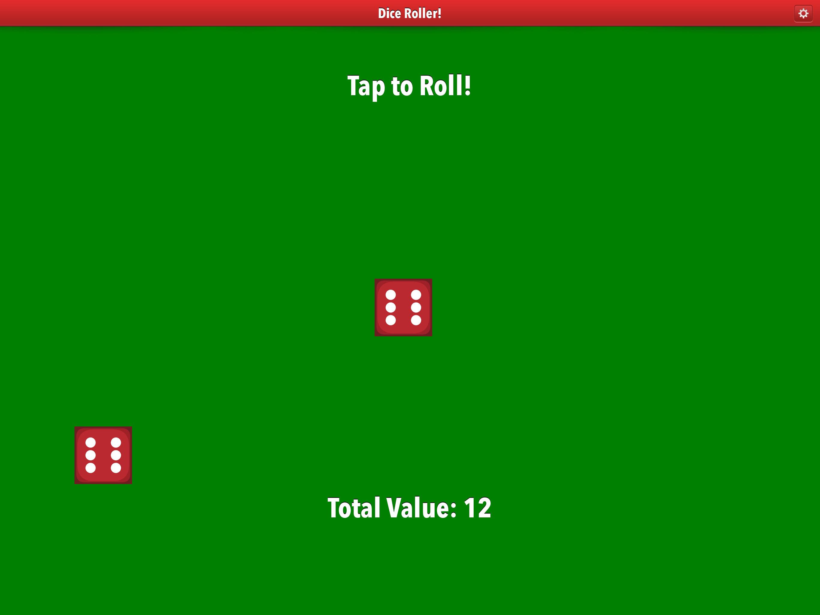 Dice Roller App iPad Pro screenshot two dice.
