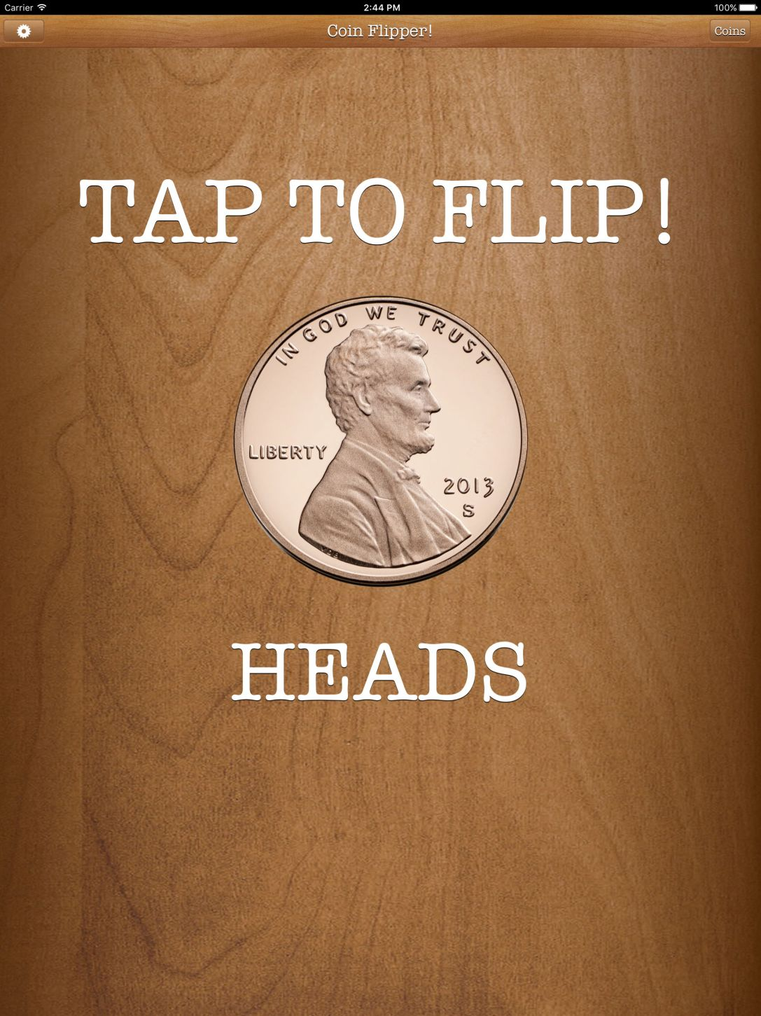 Flip a Coin App penny on heads iPad Pro screenshot.