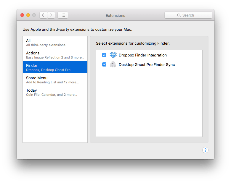 App extensions pane in System Preferences on Mac.