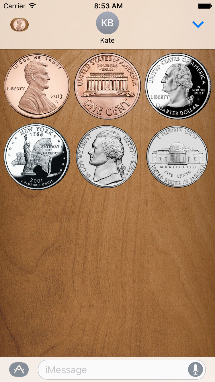 Flip a Coin App Messages Sticker Pack full screen.