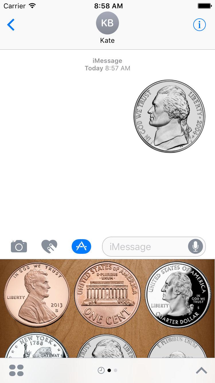 Flip a Coin App Messages Sticker Pack nickel.