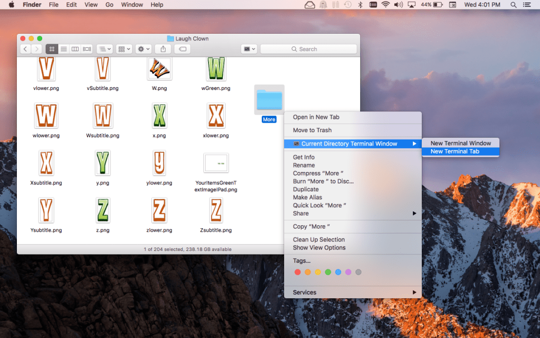 Current Directory Window for Terminal Mac app screenshot of Finder context menu.