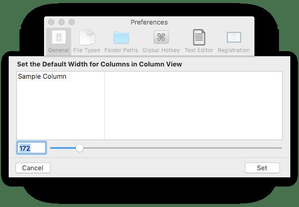 Settings window screenshot of File Cabinet Pro showing custom column width sheet.