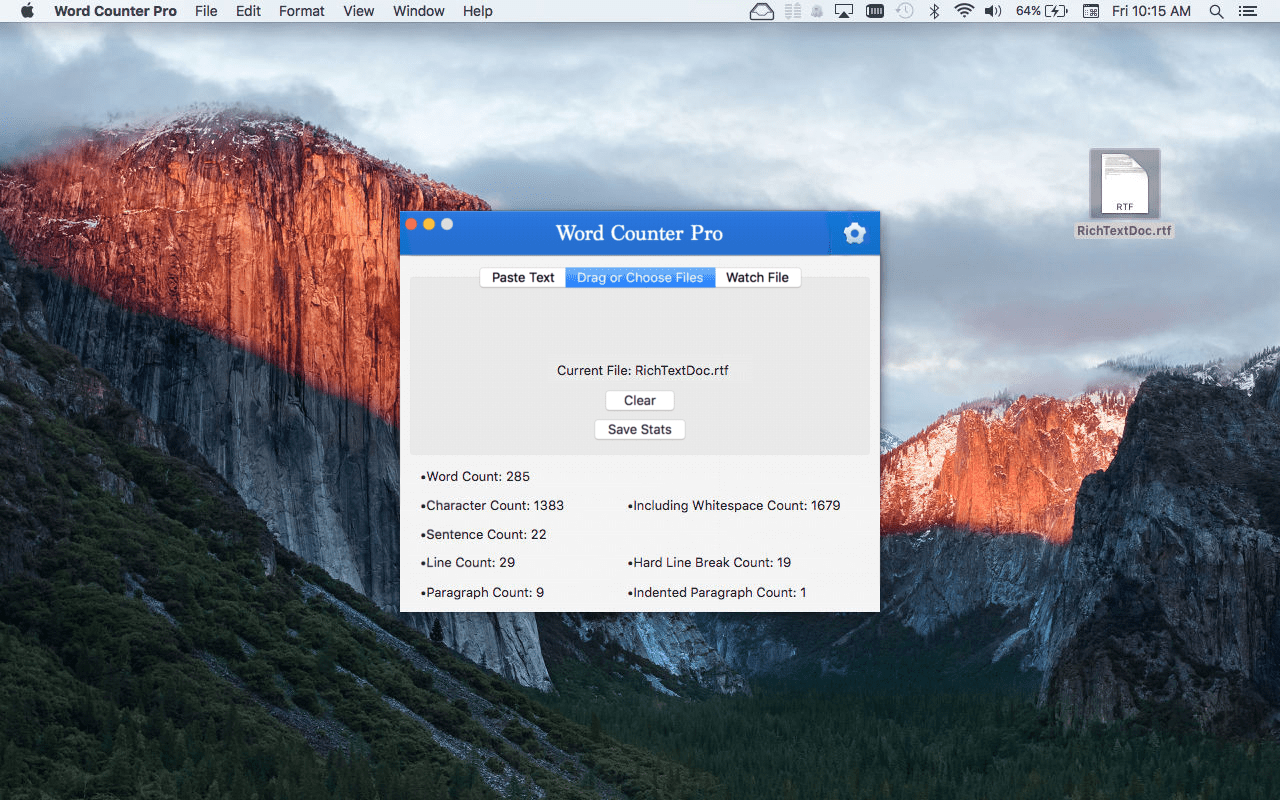 Word Counter Pro Mac App Screenshot with drag or choose files selected.