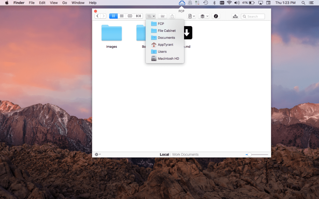 File Cabinet Pro Mac app screenshot showing file path button pressed.