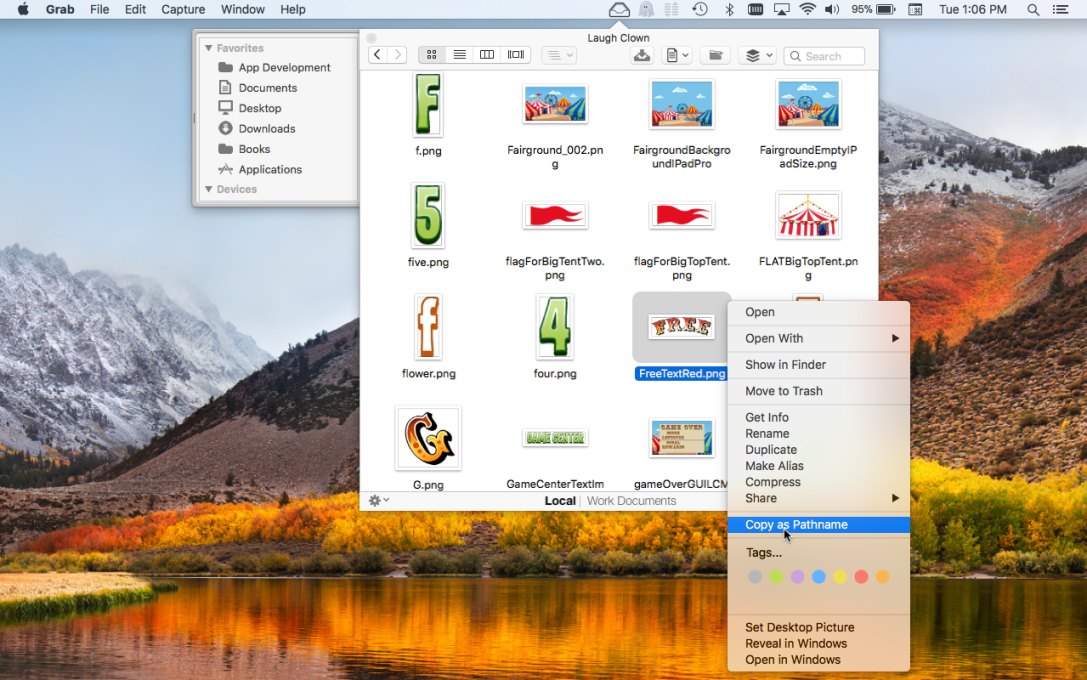 File Cabinet Pro Mac app screenshot of 'copy as file path' menu item highlighted in context menu.