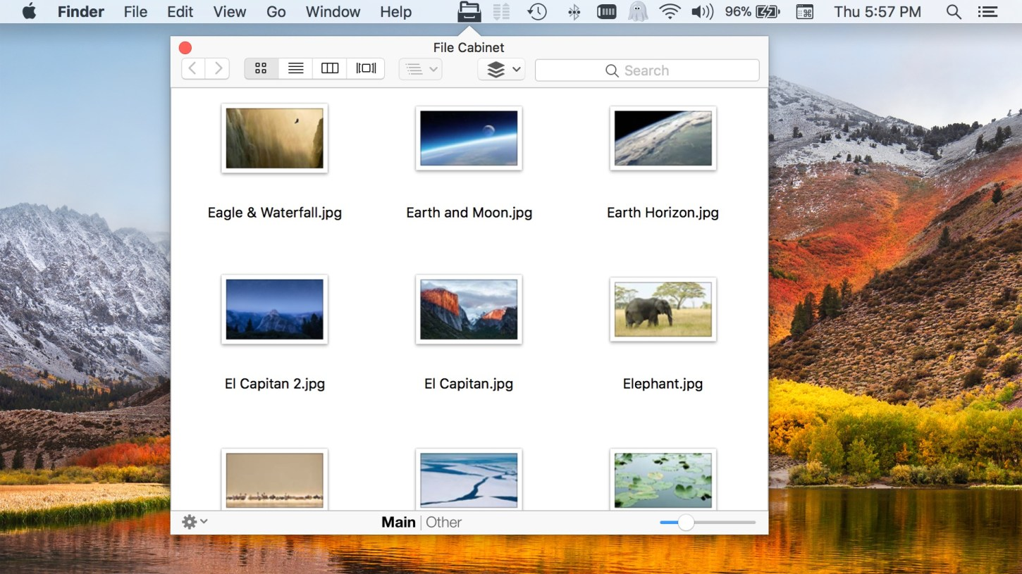 File Cabinet Pro Mac App screenshot of new menu bar icon in version 5.