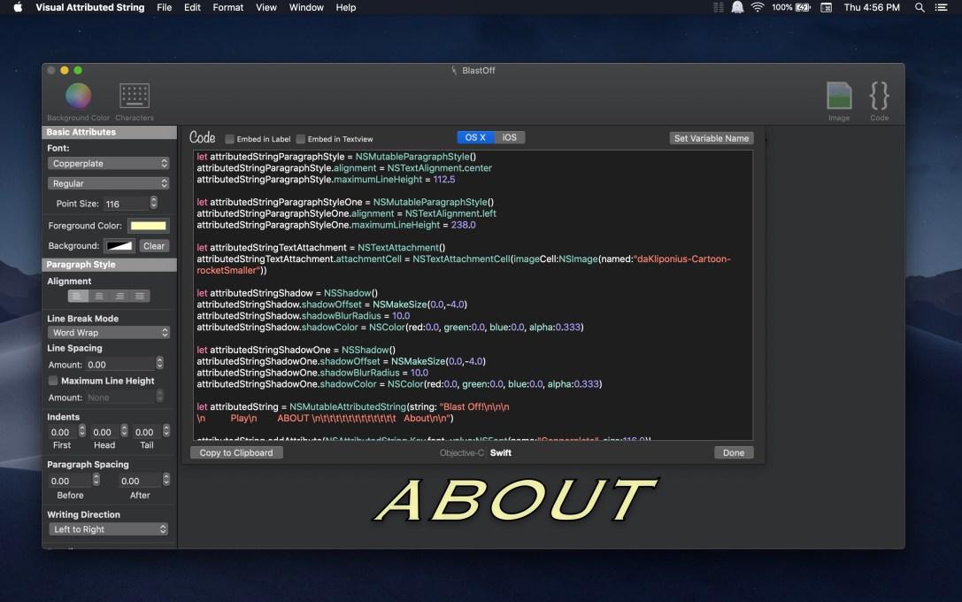 Visual Attributed String Mac app screenshot in Dark Mode on macOS Mojave with generated code window displayed.