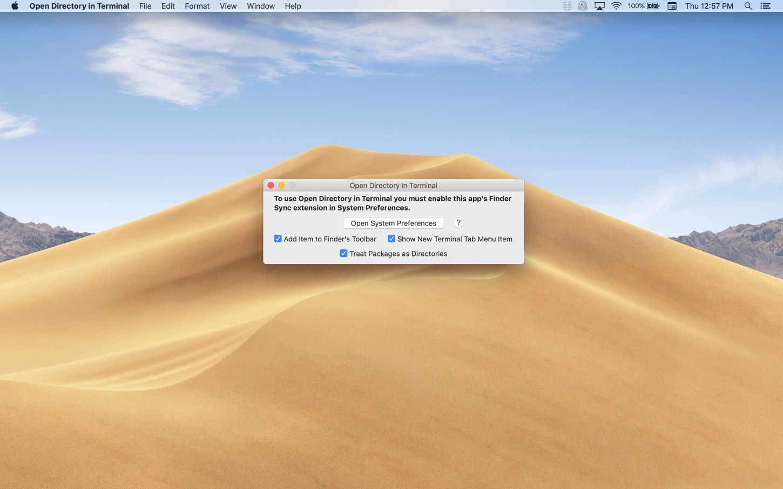Open Directory in Terminal Mac app screenshot of main window in light mode.