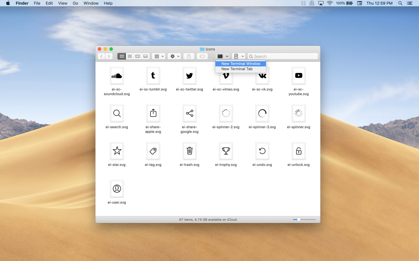 Open Directory in Terminal Mac app screenshot Finder toolbar item exposed in light mode.