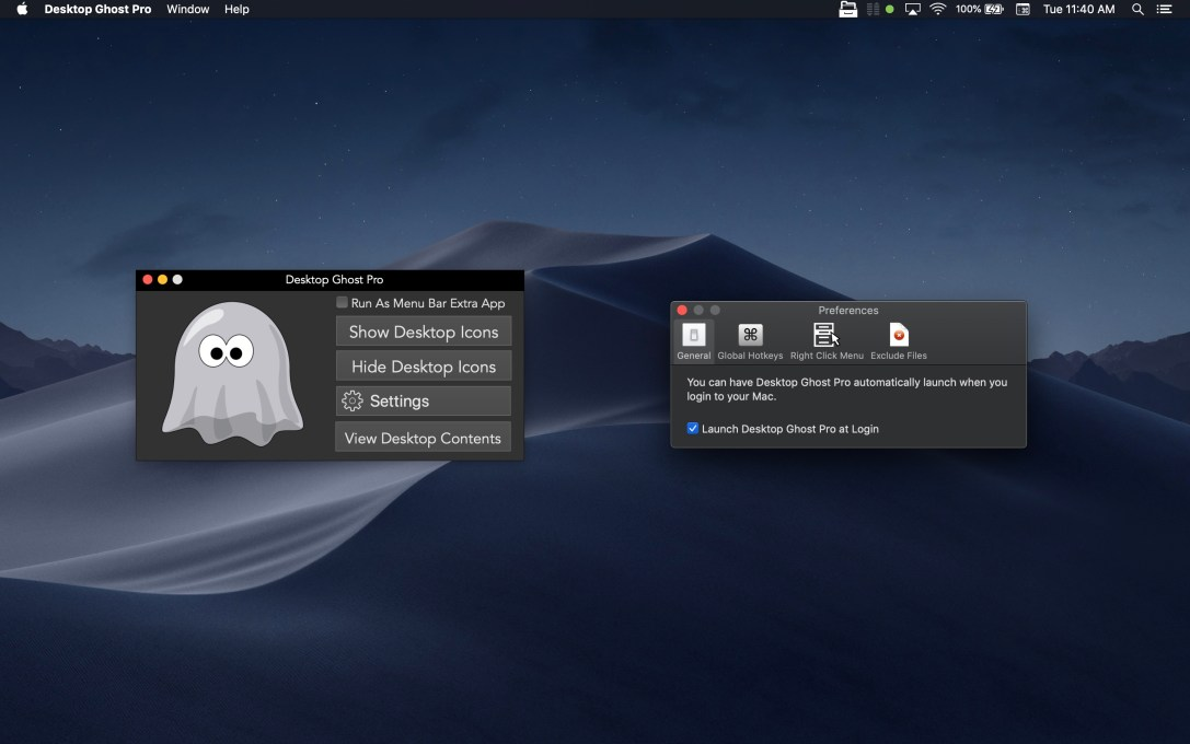 Desktop Ghost Pro Mac app screenshot in dark mode with Preferences window showing.