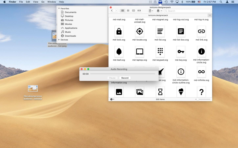 File Cabinet Pro screenshot showing audio recording window.