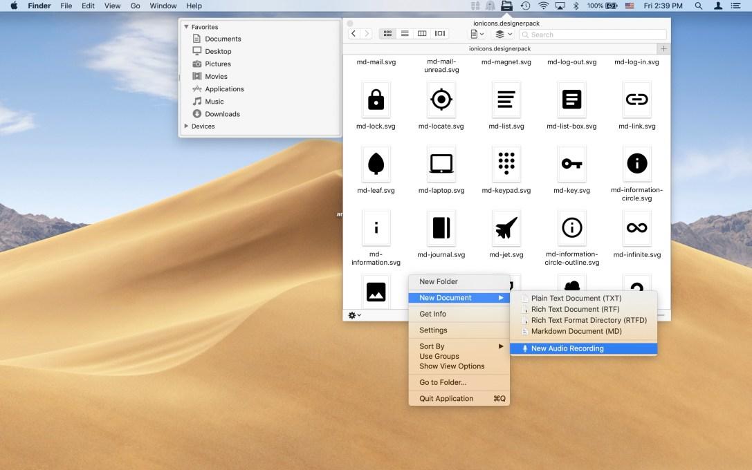 "File Cabinet Pro screenshot showing ""New Audio Recording"" menu item."