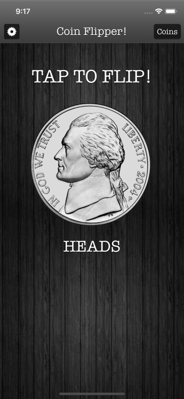 Flip a Coin App iPhone 11 screenshot nickel on heads in dark mode.