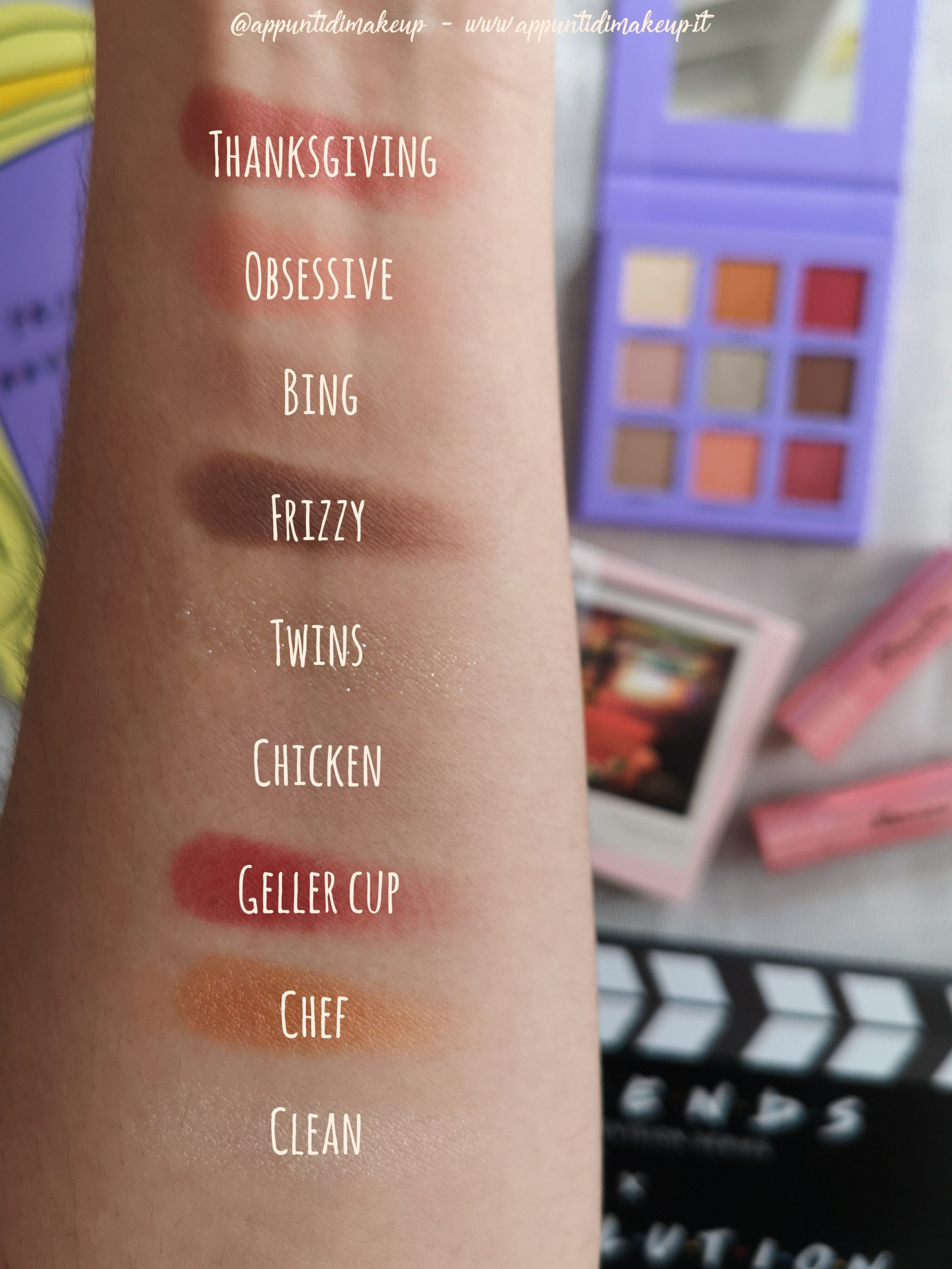 Friends x Revolution beauty collection: Monica Eyeshadow palette swatches