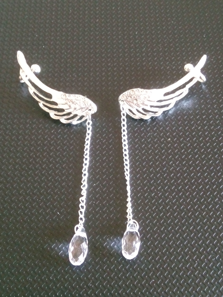 [Shopping] Silver Plated Angel Wing Crystal Earrings