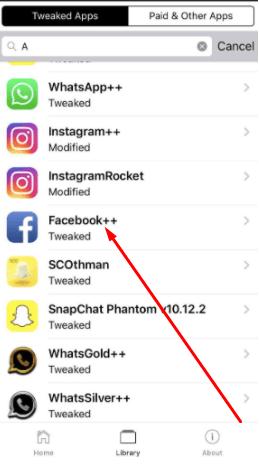 "Search ""FaceBook++"" App on iOS"