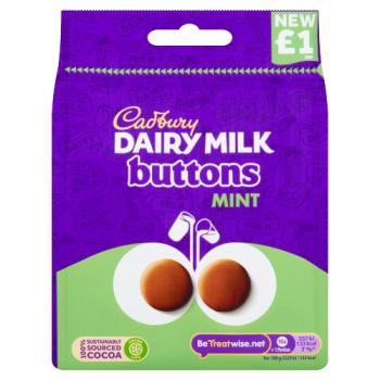 Cadbury Dairy Milk Buttons Mint Chocolate Bag £1 95g -