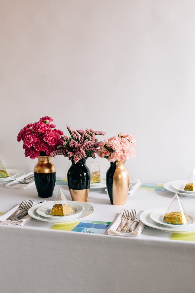 How To DIY Tutorial For Gold-Dipped Vase Wedding Centerpieces