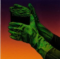 Handling a VILE Fluid, 1992; Lithograph; Image:2 1/4 x 2 1/4 inches