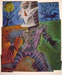 "Rampant Wereclown, 1995; ""no print""; Image: 40 x 30 inches"