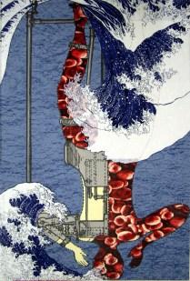 Tsunami, 2009; Screen print, collage; Image: 35 x 23 inches