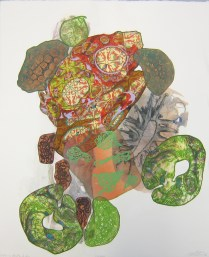 Evolving Nordic Life, 2012; Digital transfer, marbling, chine colle; Image: 22 1/4 x 18 inches