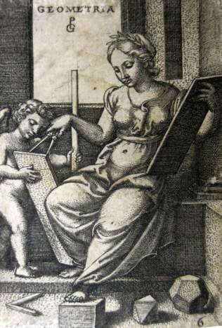 George Pencz (1500-1550); Geometria, 1541; Engraving; Image: 3 x 2 inches