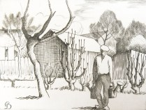 Pierre Dubreuil (1892-1971); Le Jardinere (The Gardener), circa1930-1944; Engraving; Image: 3 1/2 x 4 1/2 inches