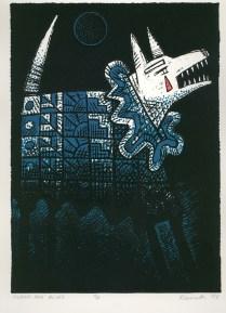 Clown Dog Blues, 1999; Screen print; Image: 265x195 mm