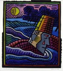 Swimming Clown, 2002; Oil pastel, thread; Image: 436x370 mm