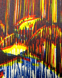 E. 6th Street (Graphic Chemical Process Blue), detail 3; Woodcut