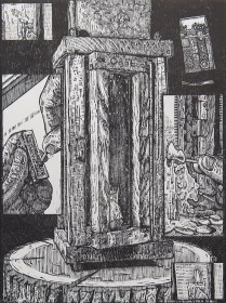 "Adam Case Leestma; Lantern II, 2014; Woodcut; paper size: 381 x 280 mm; from, ""Revival: Print Exchange"""
