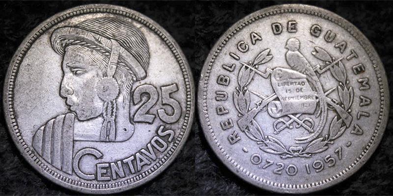 Historia de la moneda de 25 centavos de quetzal en