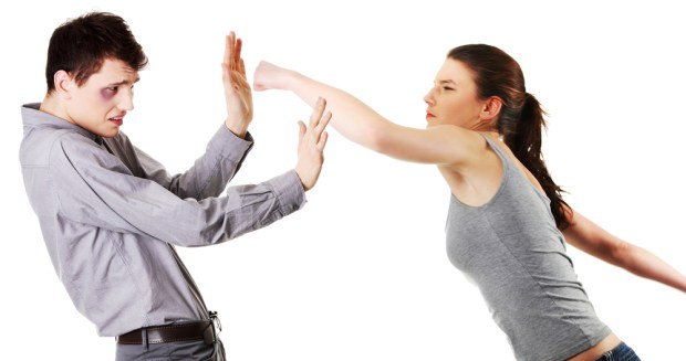 Attractive young couple fighting.