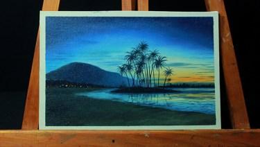 14- hora azul al oleo