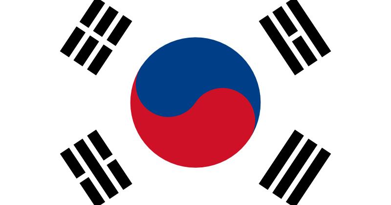 Bandera de Corea a lo largo