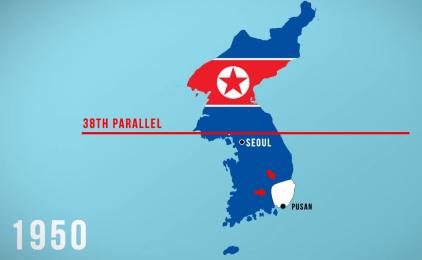 Mapa de la invasión de Corea del Norte al Sur en 1950