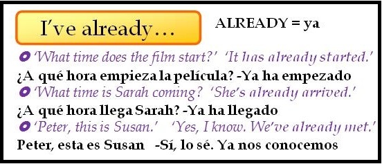 El Presente Perfecto en inglés: Just, already, yet, for y since