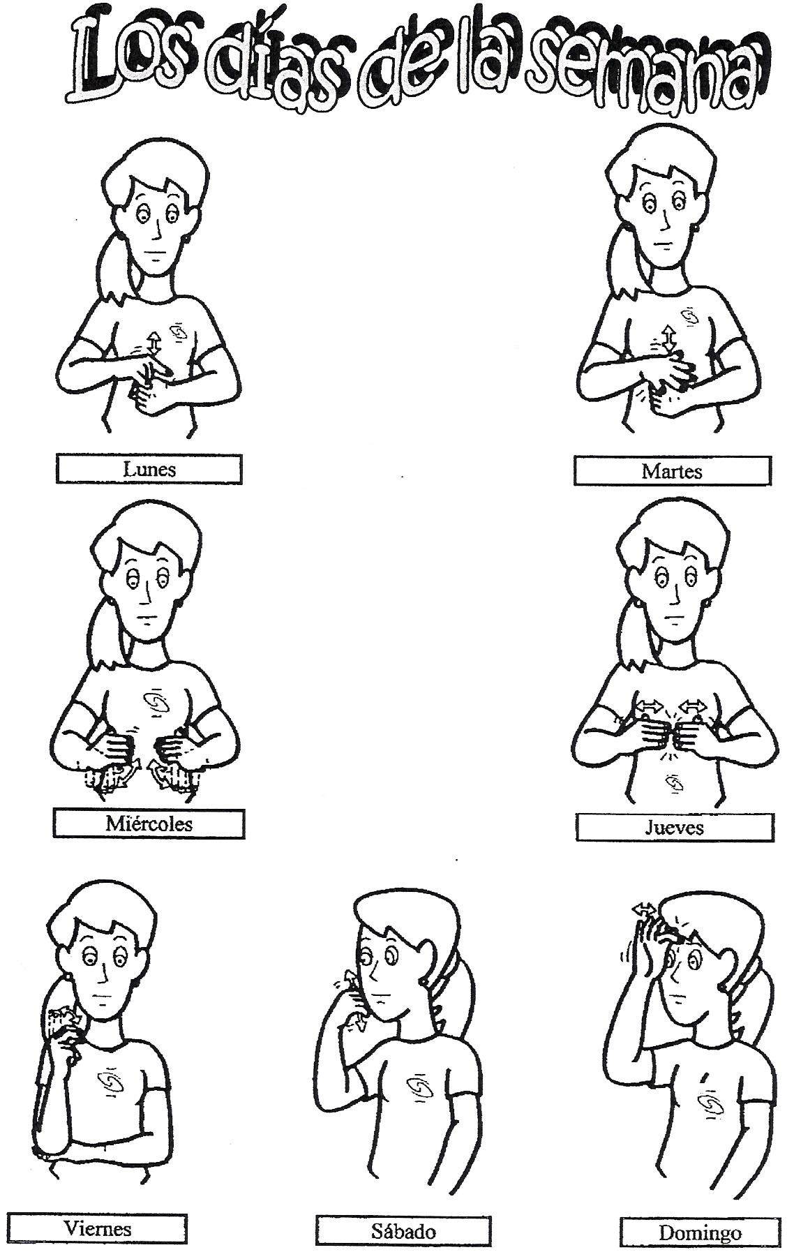 Los Dias De La Semana En Lengua De Signos Dibujos