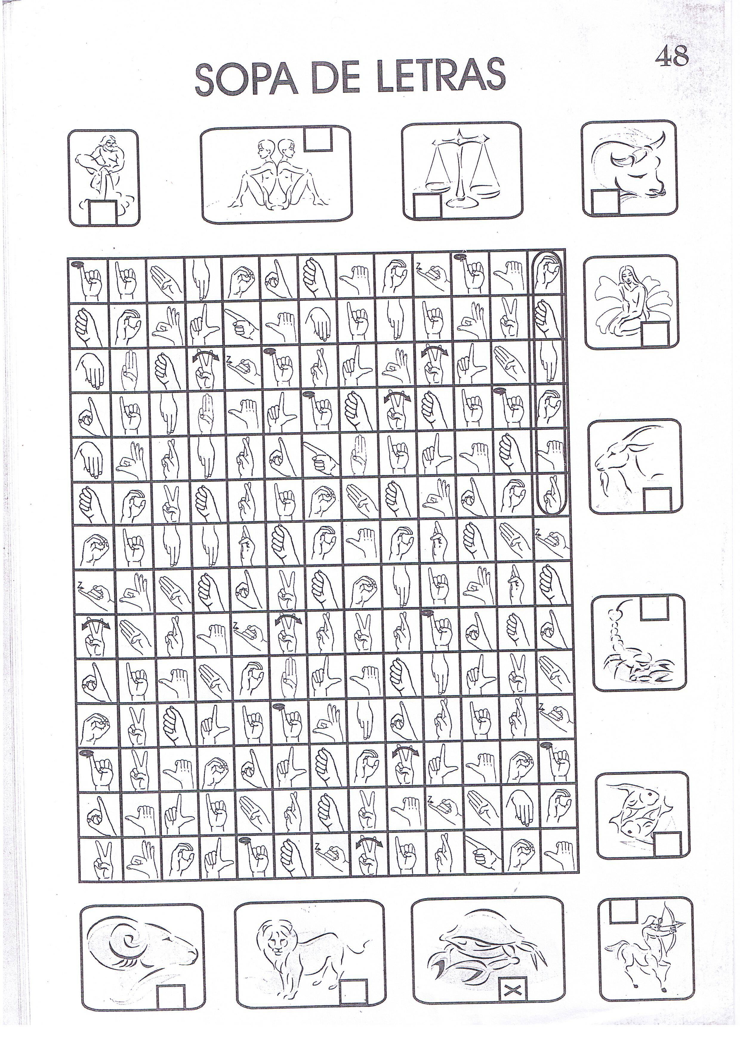 Sopa De Letras En Lengua De Signos Signos Del Zodiaco