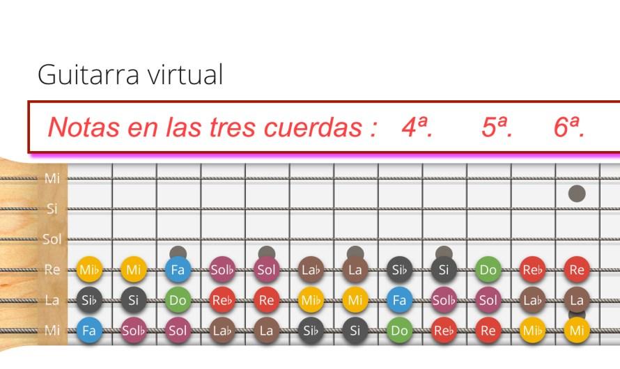 Nombre de las notas en las cuerdas 4ª 5ª 6ª