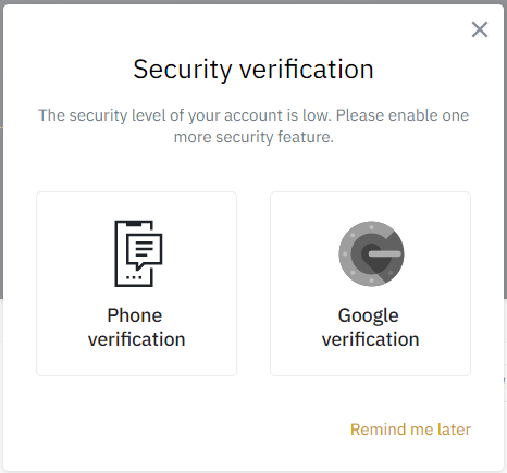 Two-factor verification with Google Authenticator, example on exchange Binance