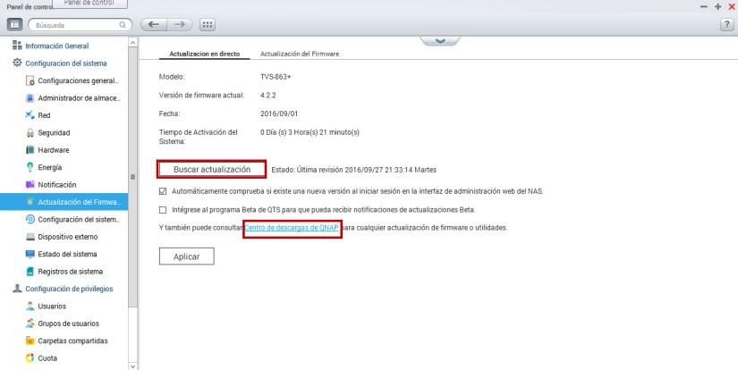 actualizar firmware en qnap