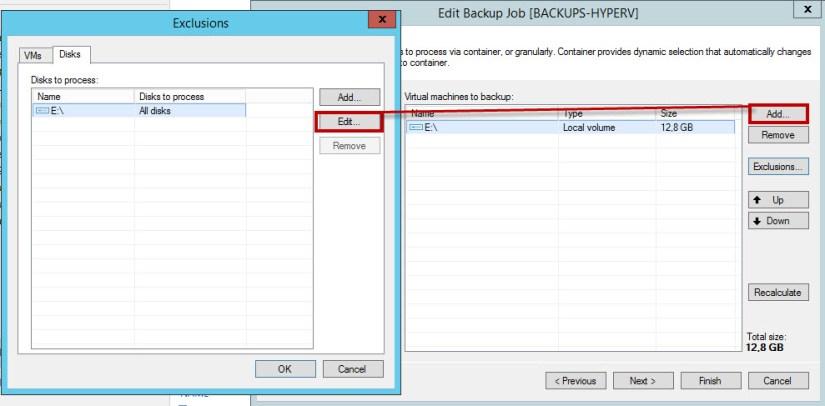 Backup por volumen exclusiones vm