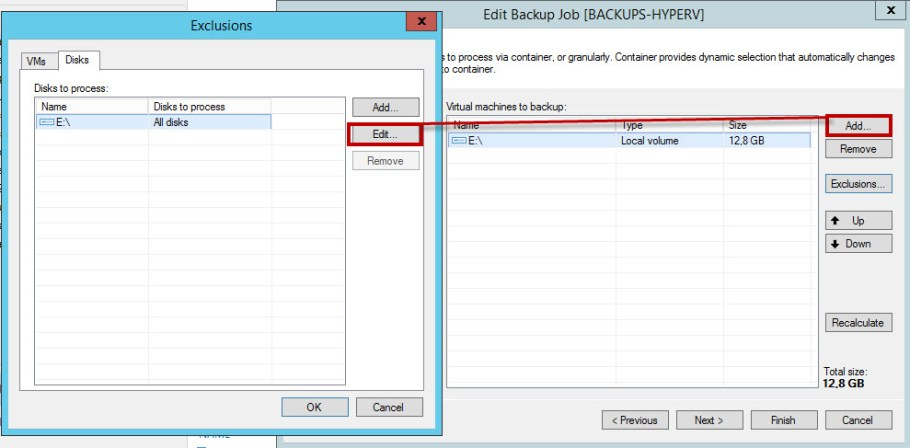Backup por volumen exclusiones vm
