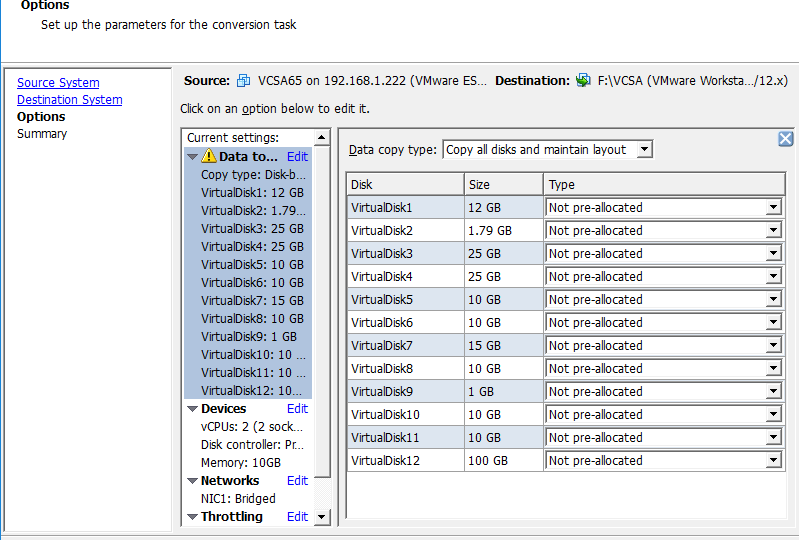 Convertir vCSA 6 5 a formato VMware Workstation con VMware vCenter