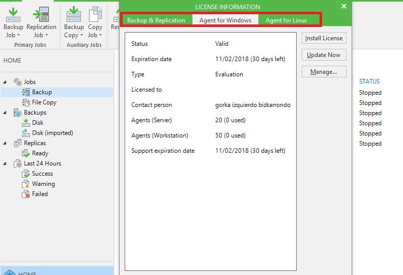 Desinstalar licencias trial Veeam Agent de la consola de Veeam Backup