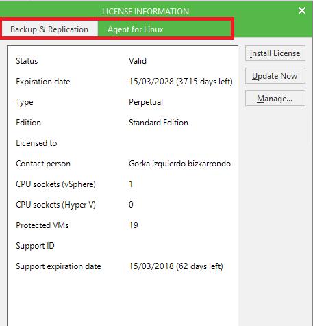 licencia desinstalada Veeam Agent Linux